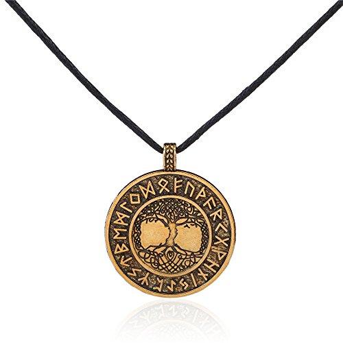 Vassago - Colgante vintage de amuleto nórdico con diseño del árbol de la vida Yggdrasil. Collar colgante talismán. Unisex.