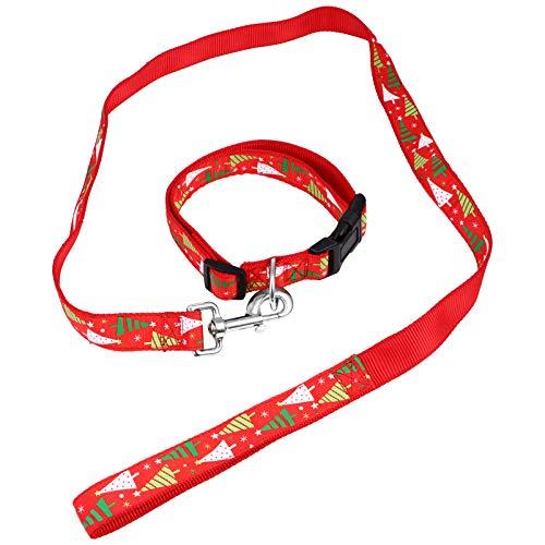 Balacoo Conjunto de Collar Y Correa para Mascotas de Navidad Collar de Árbol de Navidad Festivo para Mascotas Ajustable Correa de Cuerda para Mascotas Seguras para Caminar Entrenamiento