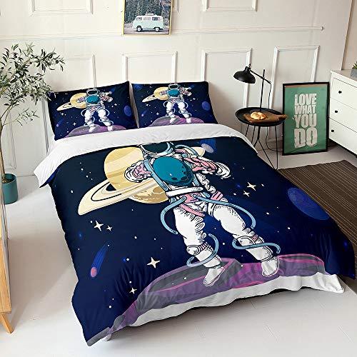 Chickwin Duvet Cover Set Bedding Sets 4 Pieces Single Double King, 3D Printed Soft Microfiber Modern Duvet Set with Quilt Case Pillowcases Flat Sheet (Astronaut I,200x200cm)