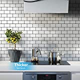 Art3d Subway Tiles Peel and Stick Backsplash, Stick on Tiles Kitchen Backsplash (10 Tiles, Thicker...