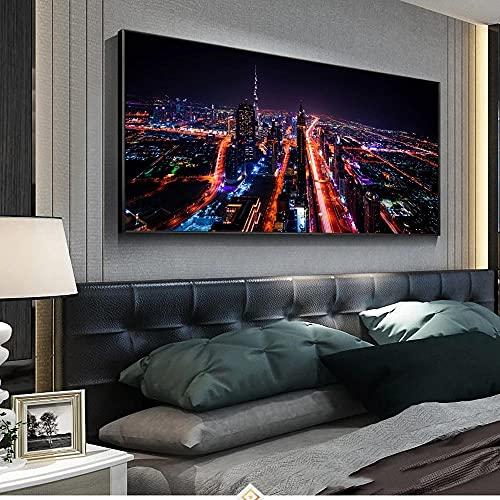 DLFALG Vista nocturna de la ciudad de Dubai Poster Wall Art Picture Print Pop Canvas Painting Dormitorio moderno Sala de estar Decoración para el hogar Obra de arte-50x100cm Sin marco