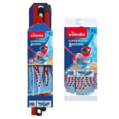 Vileda SuperMocio-Mocio Compatto a 3 azioni, con Ricarica Extra, Rosso/Blu, 12 x 11 x 48 cm