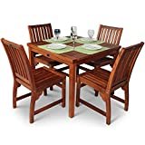 BrackenStyle Devon Hardwood Dining Set With Square Table and 4 <span class='highlight'>Chairs</span> Suitable as Outdoor Furniture or for Indoor Use