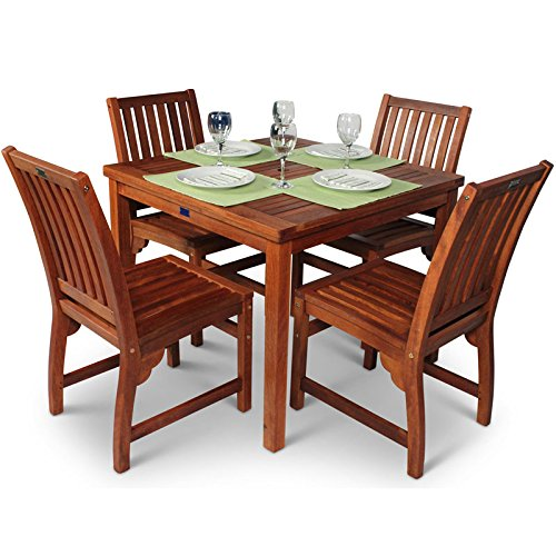 BrackenStyle Devon Hardwood Dining Set – Square Table 4 Chairs Suitable for Both Indoor and Outdoor Use – Durable Commercial Standard Set