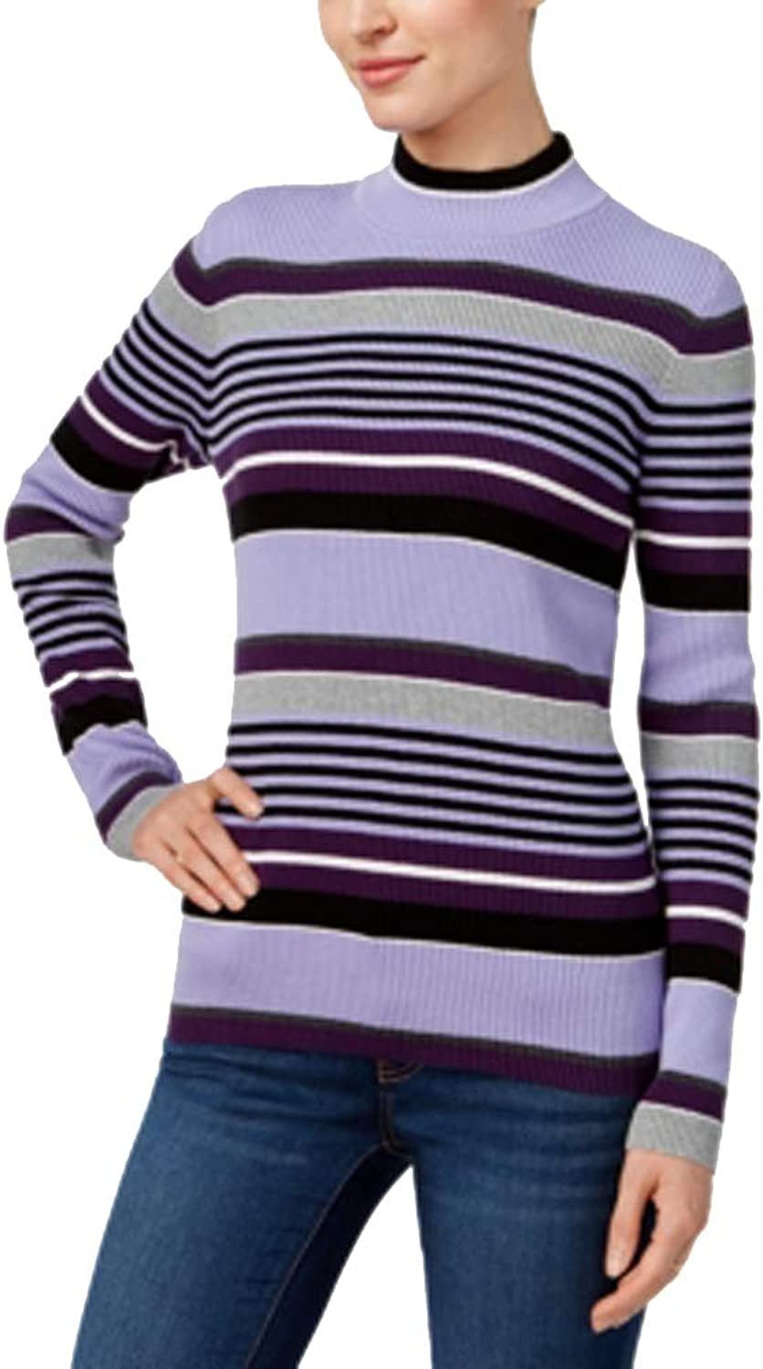 Karen Scott Cotton Striped MockTurtleneck Sweater,