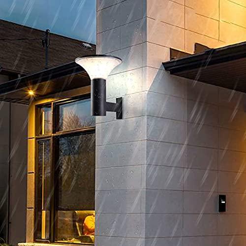 Apliques de pared para exteriores con energía solar, LED para exteriores, luz solar de jardín a prueba de agua IP65, con sensor crepuscular, iluminación de patio para porche de camino de garaje, temp