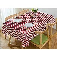 ミニマリストの縞模様の波パターンキッチンステイン耐性の厚い綿のテーブルクロス スムース (Color : Red, Size : 90X140CM)
