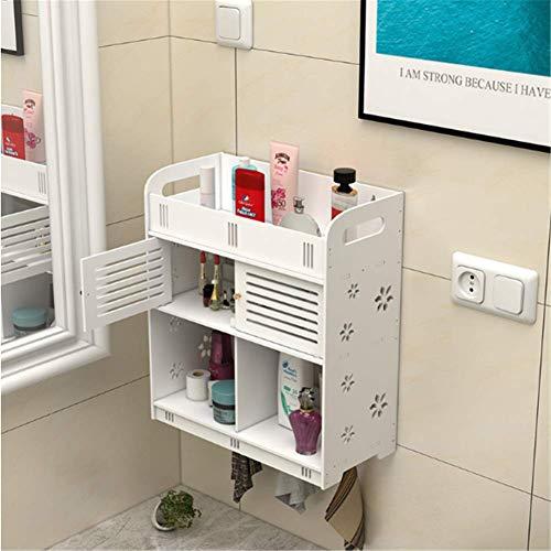 MIJOGO 2-Shelf Badkamer Organizer, Wandmontage Kunststof Badkamer Plank met Handdoekhaken Opslagruimte voor Slaapkamer, Badkamer, Woonkamer, Keuken