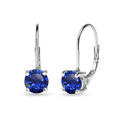 49e235c90 Sterling Silver Round-Cut Genuine or Created 6mm Gemstones Classic  Leverback Earrings