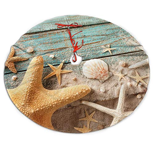 MINIOZE Nautical Wooden Beach Coastal Sand Starfish Sky Beachy Themed 30 36 48 Inch Big Christmas Plush Tree Skirt Carpet Mat Rugs Cover Large Round Pad Classic Xmas Party Favors Ornament Decoration