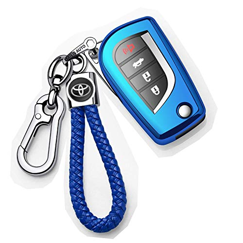 Autophone for Toyota Key Fob Cover with Keychain Soft TPU 360 Degree Protection Key Case Compatible with Toyota Fortuner tundra Camry RAV4 Highlander Corolla Smart Key(Blue)