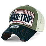 ililily ROAD TRIP Vintage Distressed Snapback Trucker Hat Baseball Cap , Olive Green