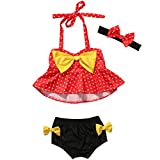 3Pcs Toddler Baby Girl Dot Bikini Set Red Halter Bowknot Tube Top+Black Short Bottom+Headband Bathing Suit Swimwear(3-4T)
