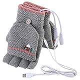 Mengqiy Guantes con calefacción USB para Hombres y Mujeres Calentadores de Manos USB Invierno cálido Dedo Completo y Medio Dedo sin Dedos Guantes de Calentamiento USB para computadora portátil