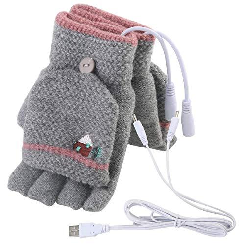 Mengqiy Herren Damen USB Beheizte Handschuhe Fäustlinge USB Handwärmer Winter Warm Full Finger und halbe Fingerlose Warm Hand Laptop USB Heizhandschuhe S Women Grey