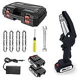 Mini Motosega A Batteria Elettrica Portatile Con 4 Catene, 2 Batterie E Caricatore Moto Sega...