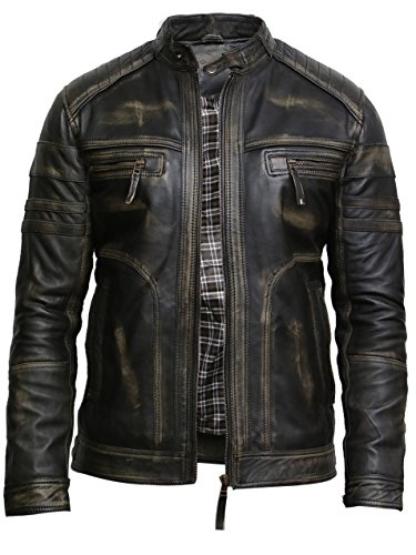 BRANDSLOCK Mens Leather Biker Jacket Distressed Vintage Retro Warm (XL, Black)