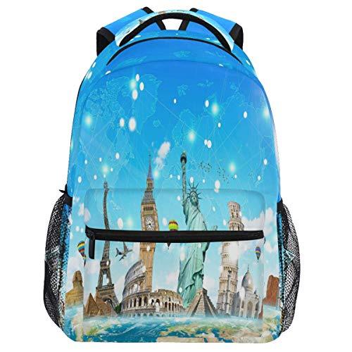 Mouthdodo Famous Landmarks World Map Backpack Bookbag Daypack Travel Hiking Camping School Laptop Bag