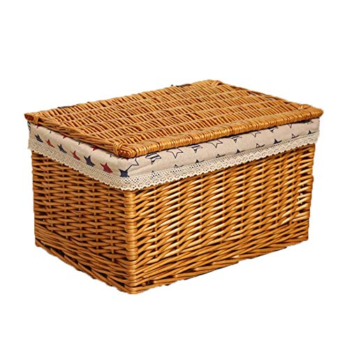 Heding Storage Basket,box Toy Clothes Clamshell Design Hand Weaving Thick Lining High Capacity Bearing Strong Wicker Living Room, 4 Sizes (Color : NATURAL, Size : 37X26X22CM)