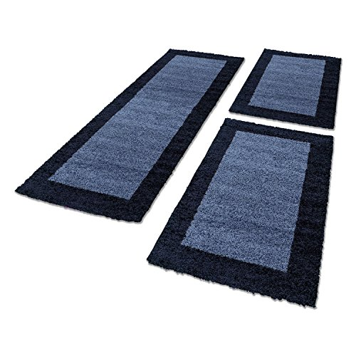 Bettumrandungen 3 tlg. Läufer-Set kariert designer Hochflor Shaggy Teppiche 1503, Maße:2x 80x150 cm / 1x 80x250 cm, Farbe:Navy