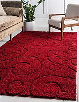 Rugs.com Botanical Shag Collection Rug – 4  x 6  Red Shag Rug Perfect for Living Rooms Large Dining Rooms Open Floorplans