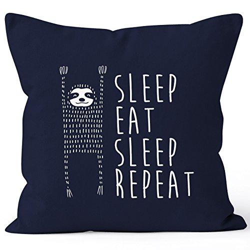MoonWorks lustiger Kissenbezug Sleep eat Sleep Repeat Faultier Kissen-Hülle 40x40 Baumwolle Navy Unisize
