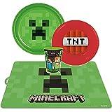Set in plastica quattro pezzi Mine craft TNT piatto piano, fondo, bicchiere, tovaglietta.