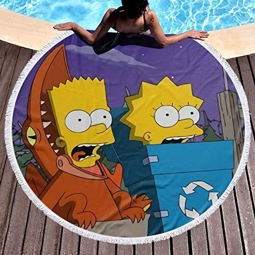 Simp-Son - Toalla de playa redonda grande con borlas, manta de playa, a prueba de arena, gran tamaño, círculo, esterilla de yoga para meditación
