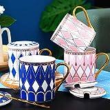 Taza Mug Café Taza De Cerámica De Lujo Ligera Taza De Cerámica Del Viento Taza De Los Amantes De La Taza De Agua De Gran Capacidad Personalizada De Oro
