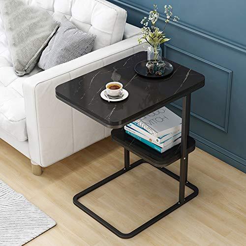 BZ-ZK Mesa auxiliar moderna, 2 capas de madera en forma de C, mesa auxiliar para dormitorio, sofá, escritorio para ordenador portátil, 50 x 30 x 58 cm (tamaño: 50 x 30 x 58 cm, color: C)