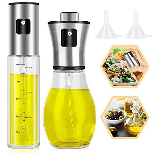 EEEKit Oil Sprayer for Cooking, Set of 2 Refillable Glass Olive Oil Dispenser Bottle with Funnels for Salad, BBQ, Kitchen Baking, Roasting