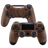 eXtremeRate Wood Grain Faceplate Shell & Dawn 1.0 Programable Remap Kit for PS4 Controller - Compatible with JDM-040/050/055 - Controller NOT Included