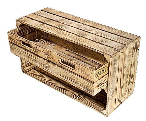 Kontorei® geflammte/braune Kiste mit Schublade 68cm x 40cm x 31cm 1er Set Schuhregal Regal Holzkiste Ablage