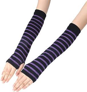 NA KY-BORED Mitaines longues tricotées pour fille Motif rayures Longueur au coude Hiver Extensible Manches avec trou pour ...