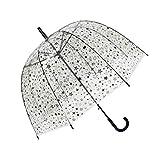 SMATI Stick Windproof Clear Umbrella Bubble See Through Transparent - Stars Birdcage(Lady)