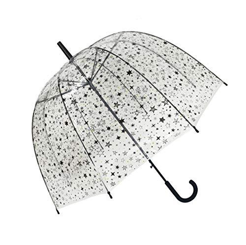 Smati Ombrello lungo–Campana resistente al vento–Stelle–smartbulle ombrello canna, 88cm, trasparente(Donna)