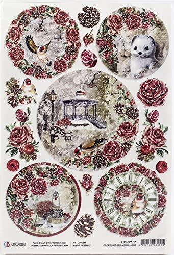 CIAO BELLA Paper - Medaglioni con rose congelate, miste, taglia unica