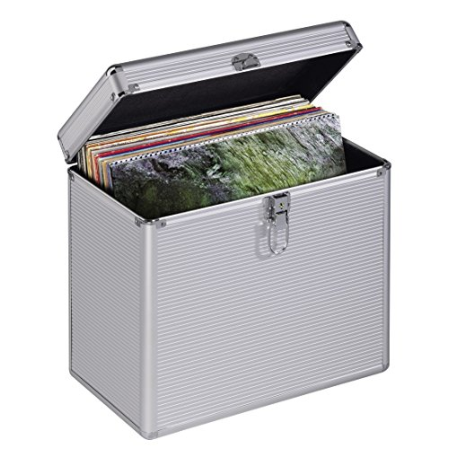 Hama LP-Koffer im Alu-Look (zur Aufbewahrung von 50 Schallplatten, abschließbar) Vinyl Aufbewahrungsbox, Plattenkoffer silber