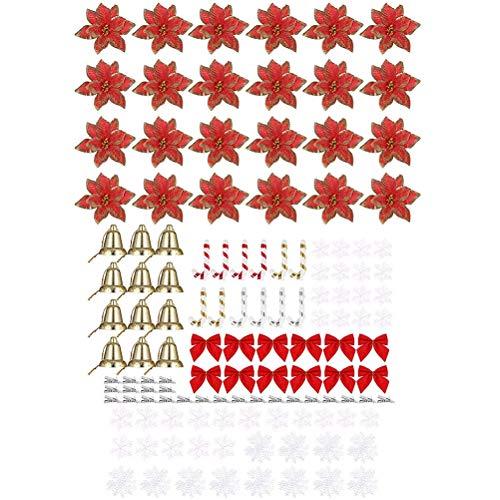 Yeyll Juego de decoración para árbol de Navidad, flores de pascua con purpurina, copos de nieve, bastón y campanas, adornos para árbol de Navidad, fiesta de Navidad