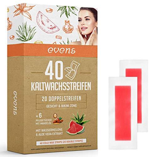 Evens Kaltwachsstreifen - 40 Stück Wachsstreifen mit 6 Pflegetücher - Haarentfernung Gesicht Damen und Herren - Augenbrauen Wachsstreifen auch für den Bikini und Intimbereich