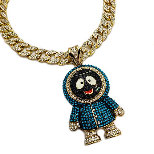BLINGFACTORY Hip Hop Large Brick Squad Eskimo Pendant & 18' Iced Cuban Choker Chain Necklace