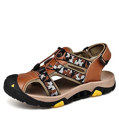 CDYEGSJ Sandalias de Moda for Hombre Casual Cerrado Toe Transpirable Elástico con Cordones Camuflaje Patrón Hook & Loop Zapatos de Ocio al Aire Libre