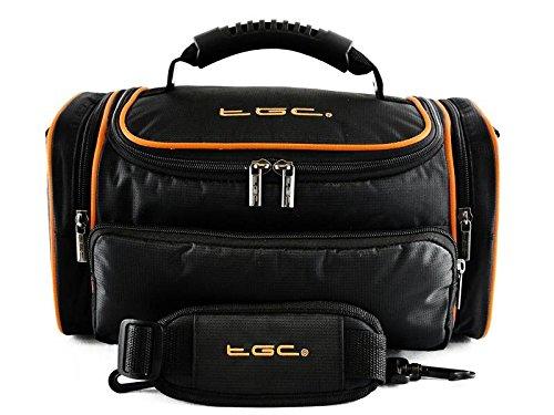TGC ® Grote Camera Hoesje voor Fujifilm X-Pro1 met Korte Zoom Lens Plus Accessoires, Zwart met Hot Orange Trims/Voering