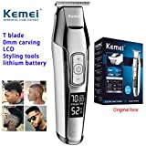 KEMEI Men's LCD Display Baldheaded Hair Clipper Professional Beard Hair Trimmer Tools Wireless Electric Haircut Cutter Machine Rechargeable Edger,Cordless and USB Rechargeable