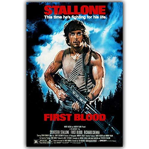 zxddzl Erste Blut Rambo Kunst Silk Poster 30X45 cm 50X75 cm Film Bild Poster Wohnzimmer decoration50x75 cm