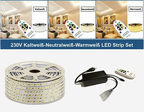 Preisvergleich Produktbild 230V LED Kaltweiß Neutralweiß Warmweiß Strip Streifen Lichtband Flex Band mit 5730 SMD 144LEDs pro Meter IP67 - für Innen und Außen Wasserfest(IR Controller (Infrarot),  30 Meter)