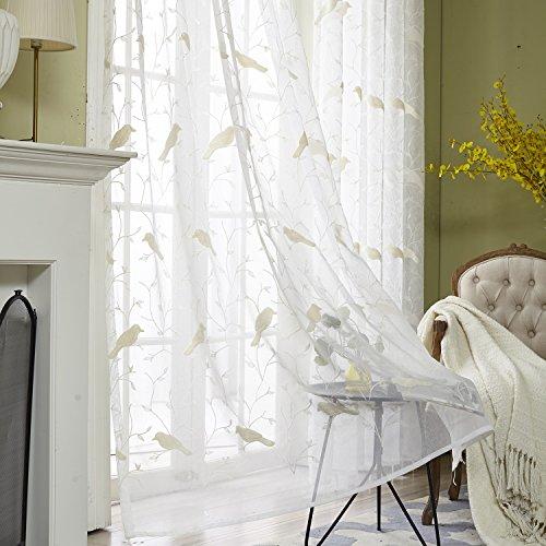 VOGOL Rod Pocket Sheer Curtains Elegant Embroidered Bird Design White Window Drapes/Panels for Living Room, 54 x 84,Two Panels