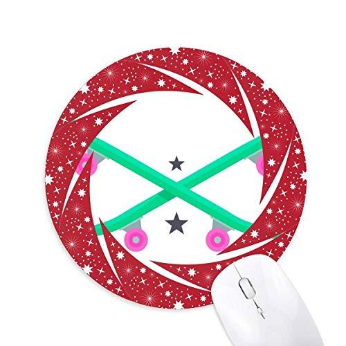 Winter Sport Skifahren Skateboard Pink Green Wheel Maus Pad Round Red Rubber