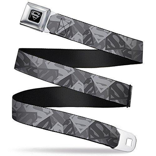 Buckle-Down Seatbelt Belt - Superman Shield Camouflage Grays...