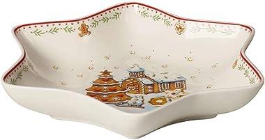 Villeroy & Boch - Winter Bakery Delight Coupe étoile Moyenne, Village en Pain d'épices, Bol pour Gâteaux, Porcelaine